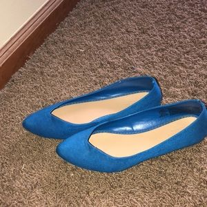 Blue, pointed toe flats
